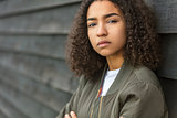 Sad Mixed Race African American Teenager Woman Green Bomber Jack