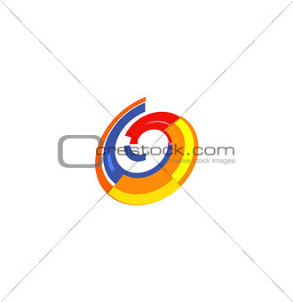 Isolated abstract colorful pie chart logo, round shape diagram logotype, infographic element vector illustration