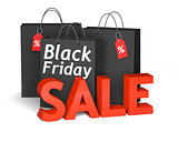 Black Friday bags and 3d red text sale