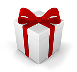 Gift box as a present with red ribbon bow isolated