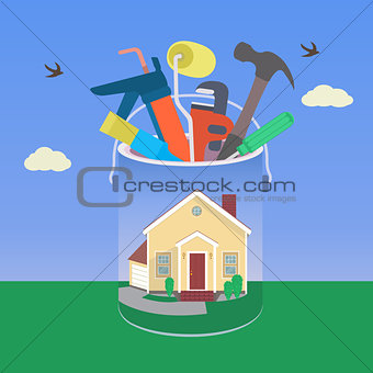 House with tool in colorful design