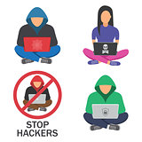 Hacker icons.Hacker with laptop, hacking the Internet