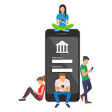 Mobile banking concept illustration of people using app for money transfering and online banking