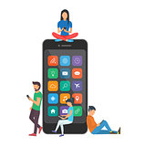 Young children are near a large smartphone and using phones to read news and communicate.