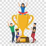 Cup trophy successful winner flat business success concept vector illustration.