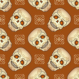 Day of the Dead seamless pattern with sugar skull.