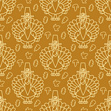 Thanksgiving Holiday Seamless Pattern. Turkey and leaves.