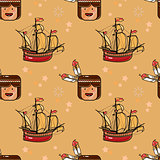 Injun and sailing ship seamless pattern.