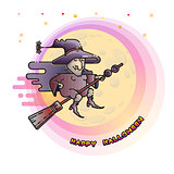 Happy Halloween card with witch on a broom and Moon.