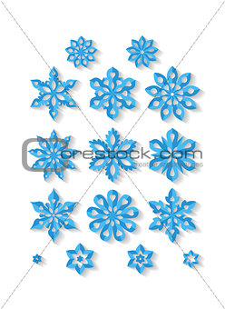 Set of carved snowflakes isolated on white background.