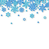 Seamless border snowflakes isolated on white background. Site header.