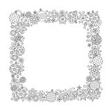 New year hand drawn square frame in zentangle inspired style isolated on white background. Doodle snowflakes, fir-tree balls, ribbon decorative border. Coloring book for adult.