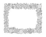 New year hand drawn horizontal frame, zentangle inspired style isolated on white background. Doodle snowflakes, fir-tree balls, ribbon decorative border. Coloring book for adult.