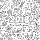 New year congratulation card with numbers 2018 and festive objects. Zentangle inspired style. Zen colorful graphic. Image for calendar, coloring book.