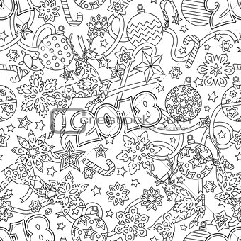 New year 2018 hand drawn outline festive seamless pattern with snowflakes, christmas balls, deers and stars isolated on white background. coloring antistress book for adult.