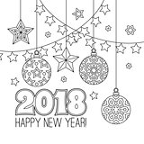New year congratulation card with numbers 2018, christmas balls, stars, garlands. Antistress coloring book for adults. Zentangle inspired style. Zen monochrome graphic.
