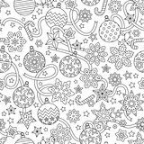 New year hand drawn outline festive seamless pattern with snowflakes, christmas balls and stars isolated on white background. coloring antistress book for adult.