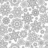 Abstract hand drawn outline seamless pattern with snowflakes isolated on white background. coloring antistress book for adult and older children.