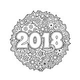 New year congratulation card with numbers 2018 on winter holiday background. Christmas mandala. Antistress coloring book for adults.