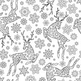 Hand drawn outline festive seamless pattern with snowflakes and deers isolated on white background. coloring antistress book for adult.