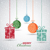 Christmas snowy background with hanging presents and spheres