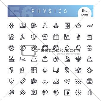 Physics Line Icons Set