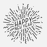 Happy New Year poster, card, banner. Trendy background in memphis style