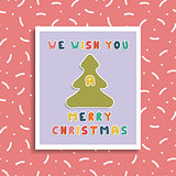 Christmas greeting card on memphis background. Holiday banner