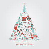 Christmas tree with hand drawn xmas elements. Holiday colorful card. Doodle design. Vector illustration