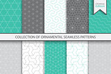 Collection of seamless ornamental colorful patterns. Christmas edition