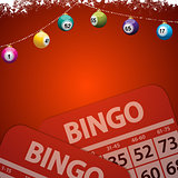 Christmas bingo baubles on festive red background