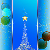 Christmas festive blue background with tree and baubles