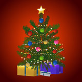 Christmas tree and gift on red background
