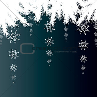 Christmas card. Winter background with spruce branches with snow