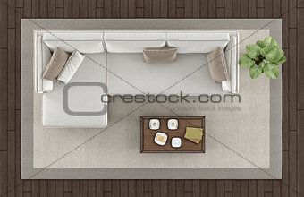 Top view of a modern living room