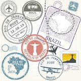 Travel stamps set - Brazil and Rio de Janeiro journey