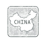 Stamps with contour of map of China