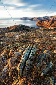 View above big beautiful lake, Baikal lake, Russia