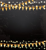 Empty Christmas Template with Neon Garlands and Flags.