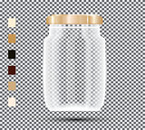 Glass Jar on Transparent Background.