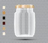 Glass Jar on Transparent Background.