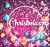 Merry christmas poster on red background with flying balloons.