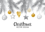 Festive gold and silver christmas background