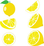 Lemon, lemon slices, set of lemons