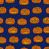 hand drawn jack-o-lantern seamless pattern - halloween background
