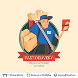 Deliveryman icon and ad text.