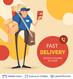 Deliveryman and ad text.