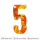 Autumn fall bright orange leaves number.