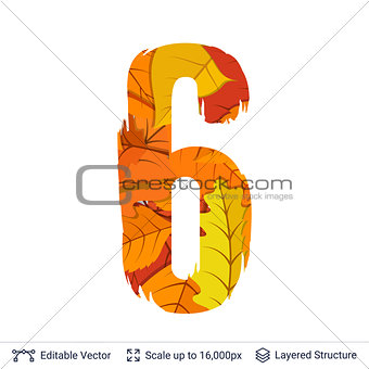 Autumn fall bright orange leaves number.