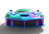 Sports car front view. The image of a sports violet-blue pearl car on a white background. 3d illustration.